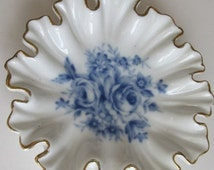 SALE Beautiful Flow Bowl Flow Blue China Bowls  Blue and White China Bowl Cobalt Blue Floral Plate Antique Candy Dish