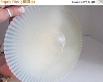 SALE Petalware Large Plate MacBeth Evans Creamax Opalescent Glass Ruffle Edge Plates White Wedding Table Decor Art Deco Glass
