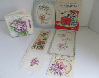 30s 40s Vintage Greeting Cards Birthday Get Well Cards Thinking of You Cards Vintage used Greeting Cards Art Deco Paper Ephemera