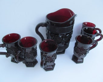 Set Of 6 1876 Avon Ruby Glass Footed Pedestal Mugs Red Cape Cod Avon Cape Cod Pattern Avon Ruby Glass Red Glassware Avon Centennial Edition