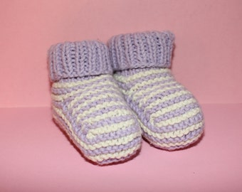 Organic Cotton Hand Knitted Baby Booties