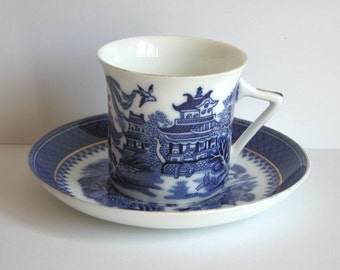 Willow Pattern Flow Blue Art Deco Stylish Coffee Porcelain cup and saucer Foley Ware