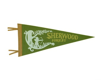 Sherwood Forest Pennant - Adventures of Robin Hood Classroom and Nursery Decor - Moss, White, Gold