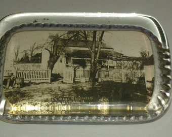 Rectangle Glass Paperweight of General Meade's Headquarters Gettysburg PA