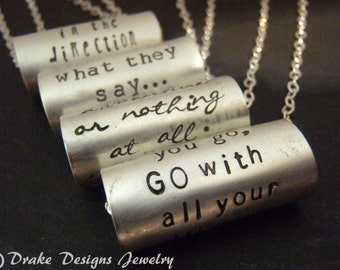 sterling silver inspirational necklace personalized with custom quote hand stamped inspirational jewelry  gift for her