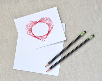 Modern Valentine - Hand Embroidered Geometric Heart Card