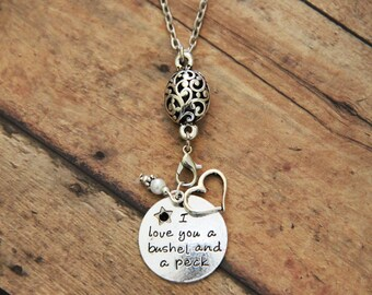 I Love You A Bushel And A Peck - Stamped Silver Charm Necklace