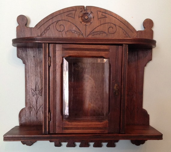 Discount Custom Made Vintage Victorian Medieval Style: Antique Victorian Wall Curio Cabinet Hand Made And Carved Dark