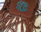 Suede Shoulder/Crossbody Bag with Fringe and Three Initial Monogram