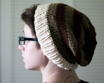 knit hat - brown mahogany white striped, hand knit