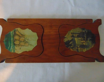 Wood Fold Down Bookends With Schooner and Riverboat