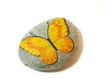 Yellow orange butterfly - hand painted rock