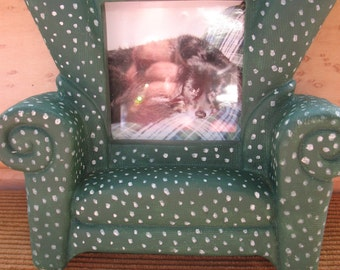 Vintage Green Polka Dot Chair picture frame