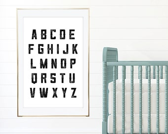 PRINTABLE WALL ART Alphabet Letters Poster, 24x36 Home Decor, Wall Print, Children's Room, Nursery Room, Nursery Decor, Kids Decoration
