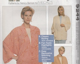 McCall's 9244 Sizes 8-22 Sewing with Nancy Misses' Lined Jackets Sewing Pattern 1998 Uncut