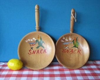 Wooden Snack Bowls - 2 Handle Bowls - Kitsch Decor - Popcorn - Vintage 1960's