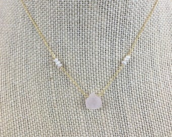 Rose Quartz and Pearl Necklace - Gold - Gift - Bridesmaids - Wedding - Bridal -