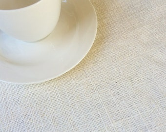 Ivory burlap tablecloth rough rustic washed burlap table runner rustic wedding table cloth