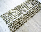 10 Brass chain link bracelets - beading supplies - brass findings - jewelry making supplies - making charm bracelets - hammered link chains