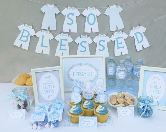 Lds baby boy blessing party printable set or christening party for Baby dedication decoration ideas
