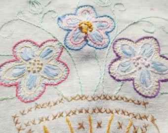 Vintage Embroidery Bouquet of Flowers in Basket Kitchen Towel or Table Scarf Shabby Chic