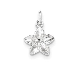 Sterling Silver Polished Plumeria Flower Pendant