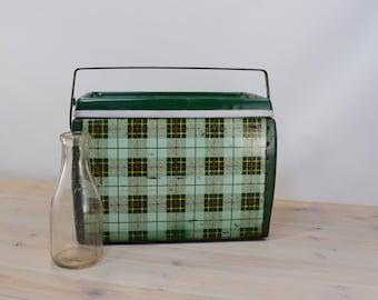 Vintage Cooler, Vintage Green Cooler, Plaid