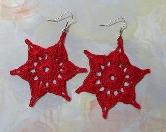 Crochet Earrings RED Stars Pierced BIG & Lightweight