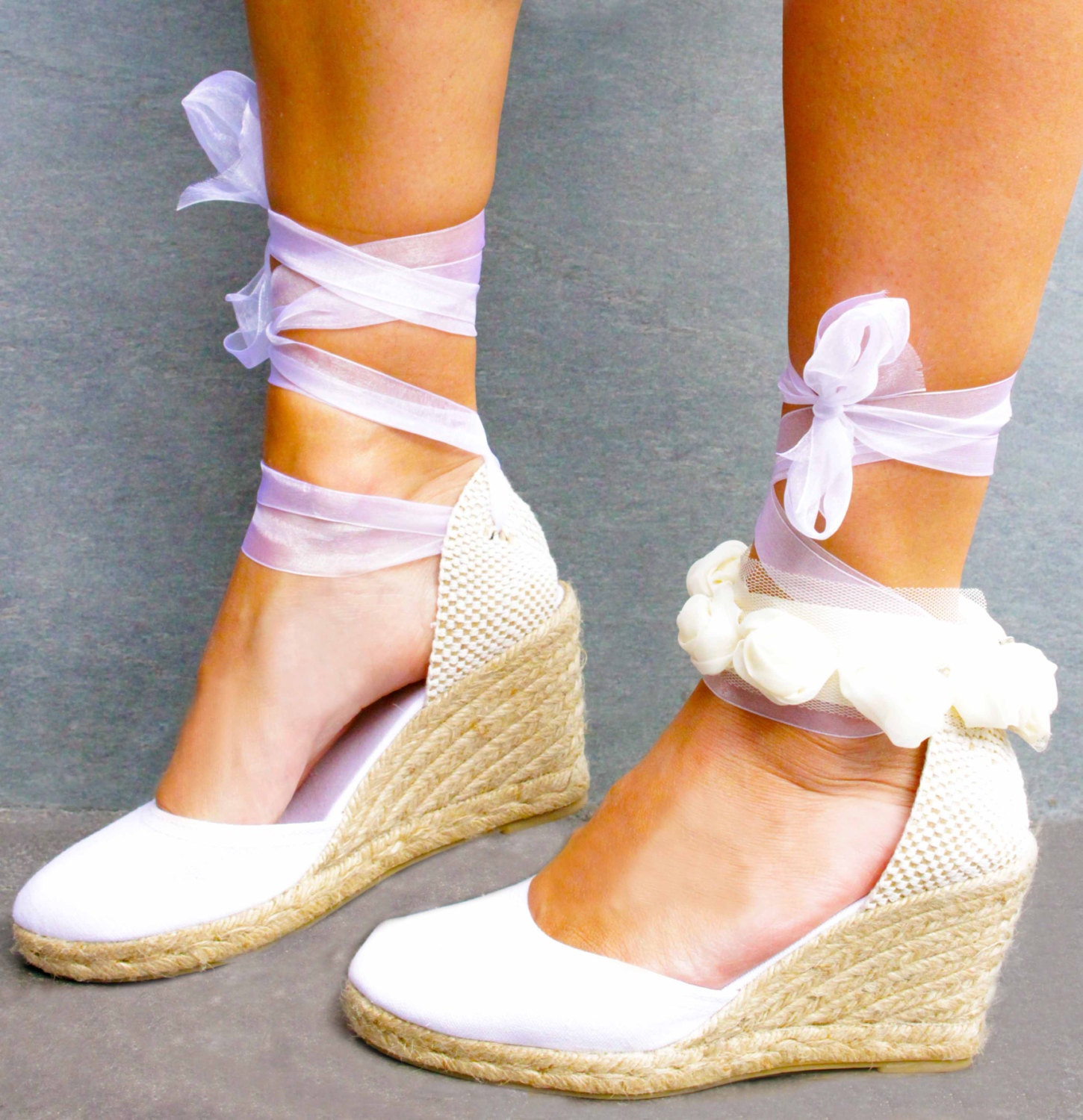 CHLOE Medium Wedge Lace Up Espadrilles Wedding Bridal Shoes