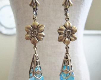 SALE AB Light Aqua Blue Bead Teardop Glass Bead Dangle Flower Earrings Antique Brass Lever Back Victorian Art Nouveau Style