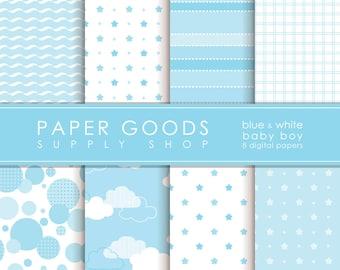 Baby Boy Digital Paper - Baby Boy Scrapbook Paper - Digital Paper - Baby Digital Paper - Scrapbook Paper - Digital Paper Pack
