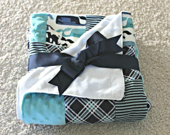 Blue Whale Plaid Quilt Blanket-Great Carseat Cover