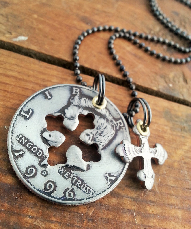 1996 21st Birthday Half Dollar Cross Necklace 21st Anniversary
