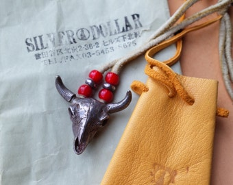 Vintage Silver Cow Skull Necklace