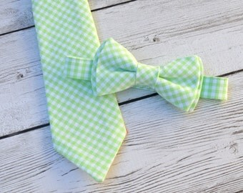 Mint green wedding tie, easter ties for boys, ring bearer bowtie, gingham tie, boys bowtie, toddler wedding outfit, boys necktie
