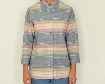 Vintage 70's Western Pastel Striped Button-Up w/ Collar (Small-Medium)