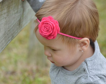 Flower Headband - Pink Flower Headband - Baby Girl Headband - Newborn Headband - Pink Rose Headband - Felt Flower Headband - Baby Girl Gift