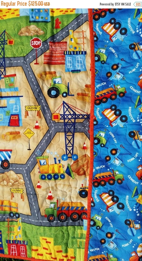 Boy crib bedding backhoes excavators construction by for Little blue truck fabric