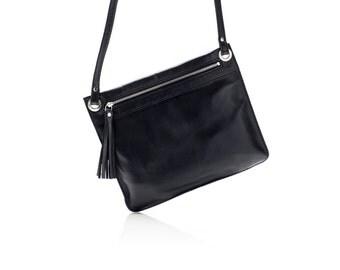 Leather crossbody bag, small cross body bag, black bag, purse, cross body bag FREE SHIPPING
