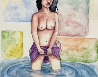 Sance de photos nue d'une jeune femme mannequin maigre