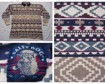 Vintage Retro Men's 90's Gant Salty Dog Southwest Tribal Print Long Sleeve Pique Red Blue White Tan Polo Shirt XL