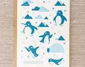 Penguin Party Letterpress Holiday Card