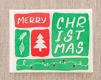 Merry Christmas Brush Letterpress Holiday Cards - SET OF 10