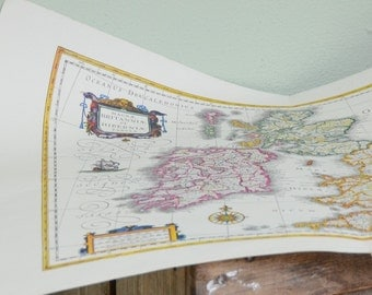 Vintage map of Great Britain office decor boyfriend gift Father's day gift office decor housewarming gift
