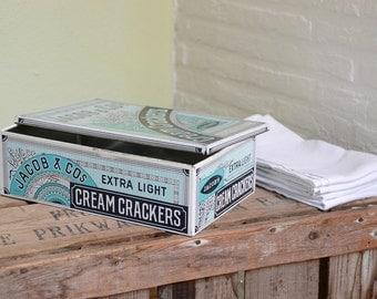 Blue retro biscuit tin stationery storage office decor beachy workplace desk decor housewarming gift