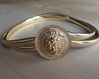 80's Judith Lieber Gold Stretch Lion Belt