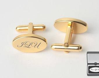Personalized Gold Oval Cufflinks Custom Engraved Free - Engraved Cufflinks - Monogrammed Cufflinks - Gold Cufflinks- Buy 6, Get 7th Free