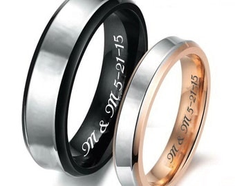 Personalized Black & Rose Gold Sweetheart Couple's Ring Set Custom Engraved Free, Promise Ring