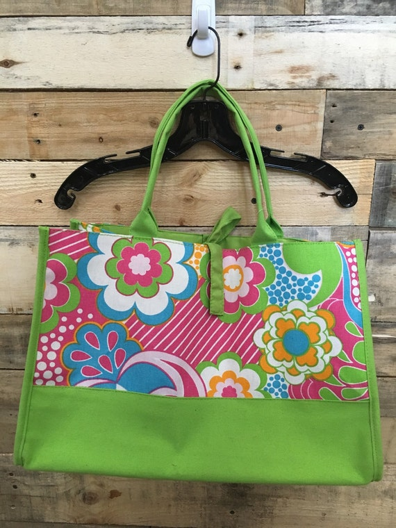 SALE Lime & Floral Tote