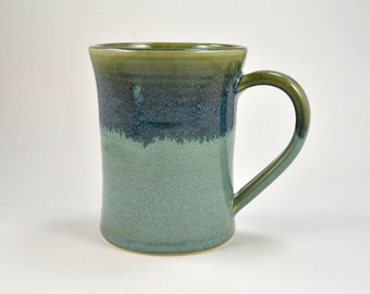 Pottery Coffee Mug Coffee Cup 16 oz Wheel Thrown Stoneware Blue